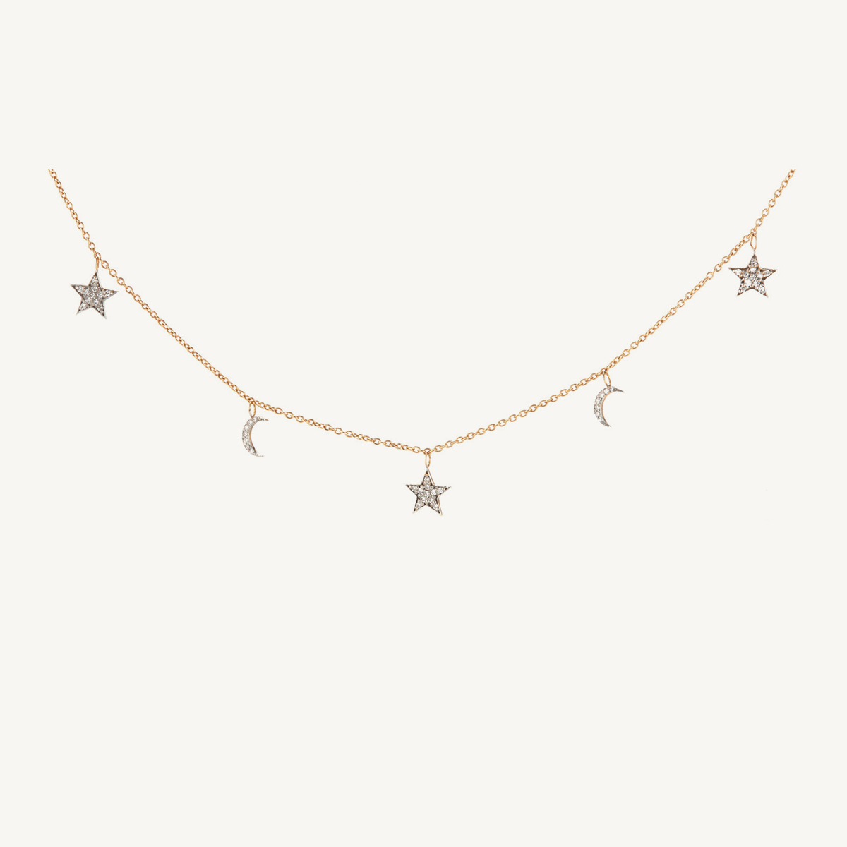 Necklace Stars & Moon in rose gold