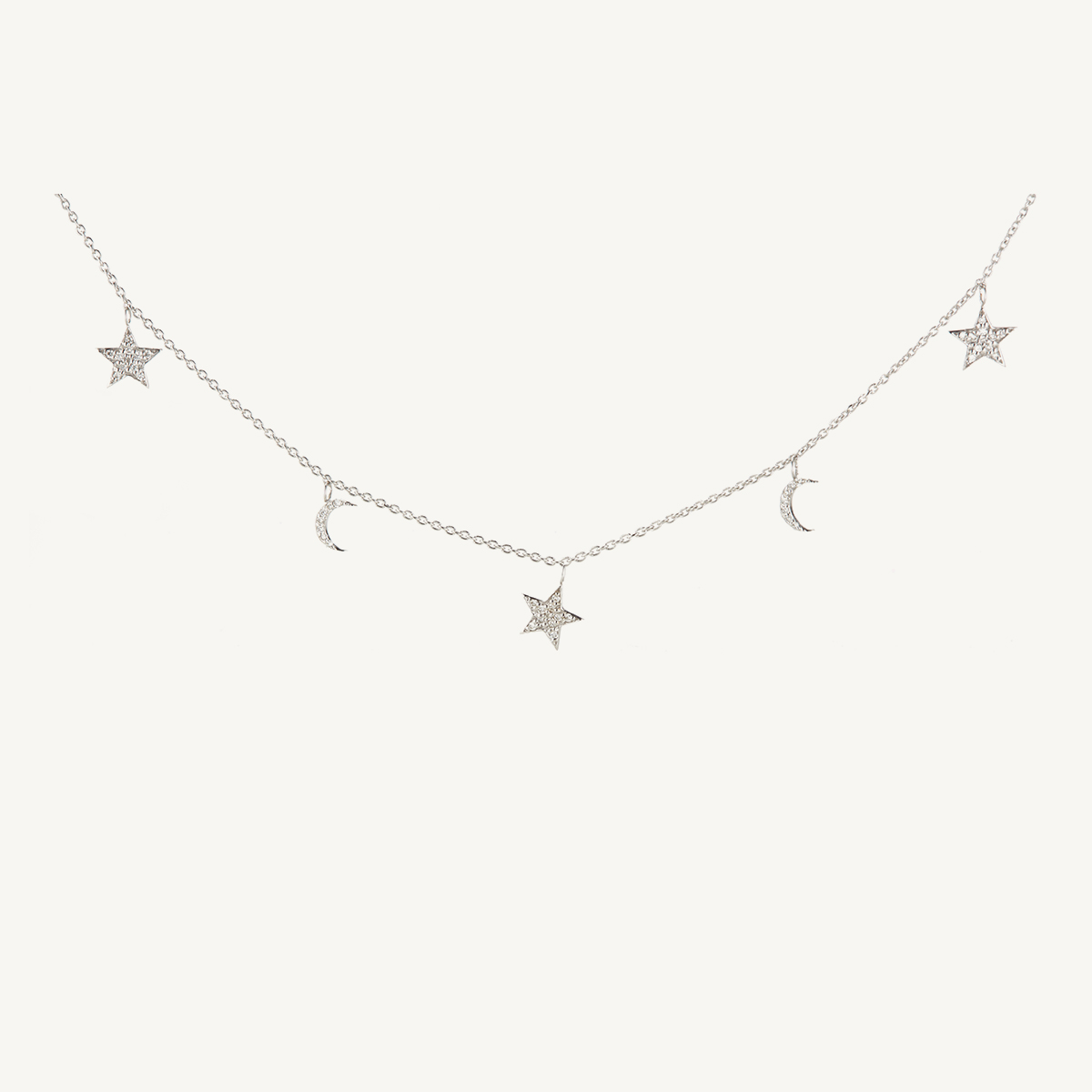 Necklace Stars & Moon in white gold