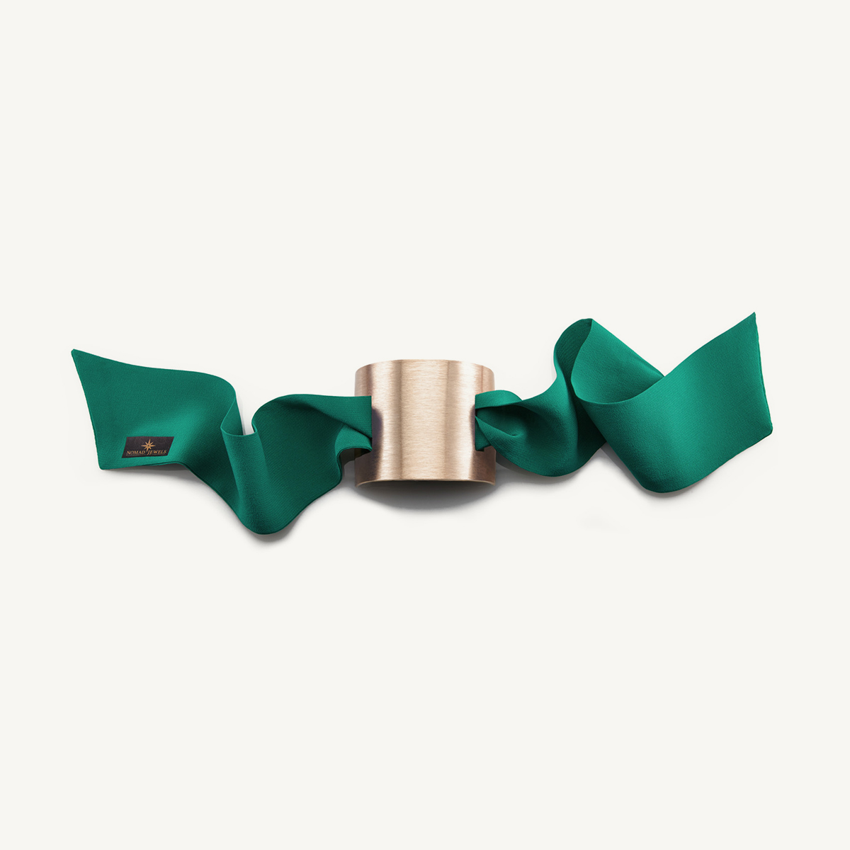Nomad Cuff brushed rose gold plated with green silk scarf