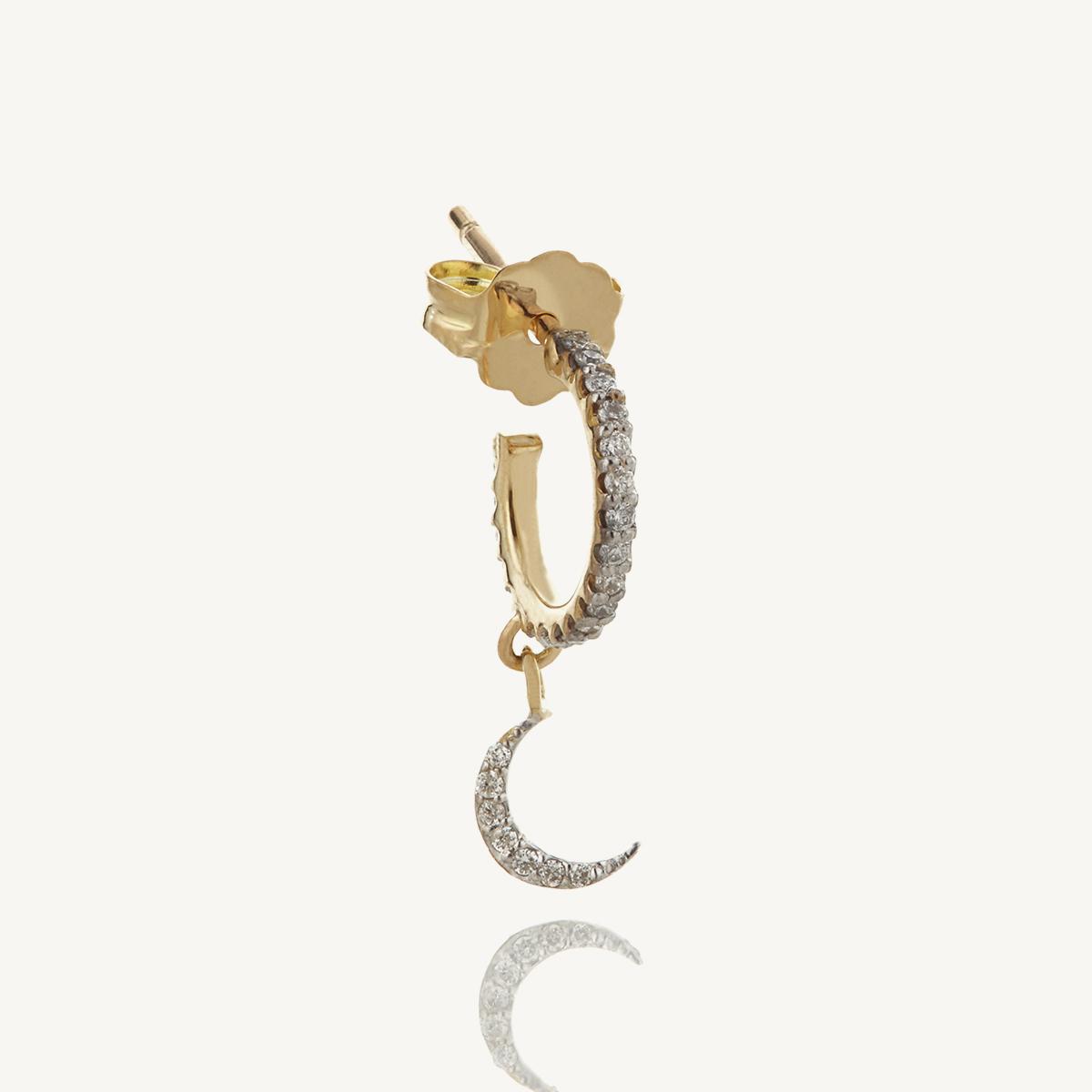 Earring Moon Mini Hoop in rose gold