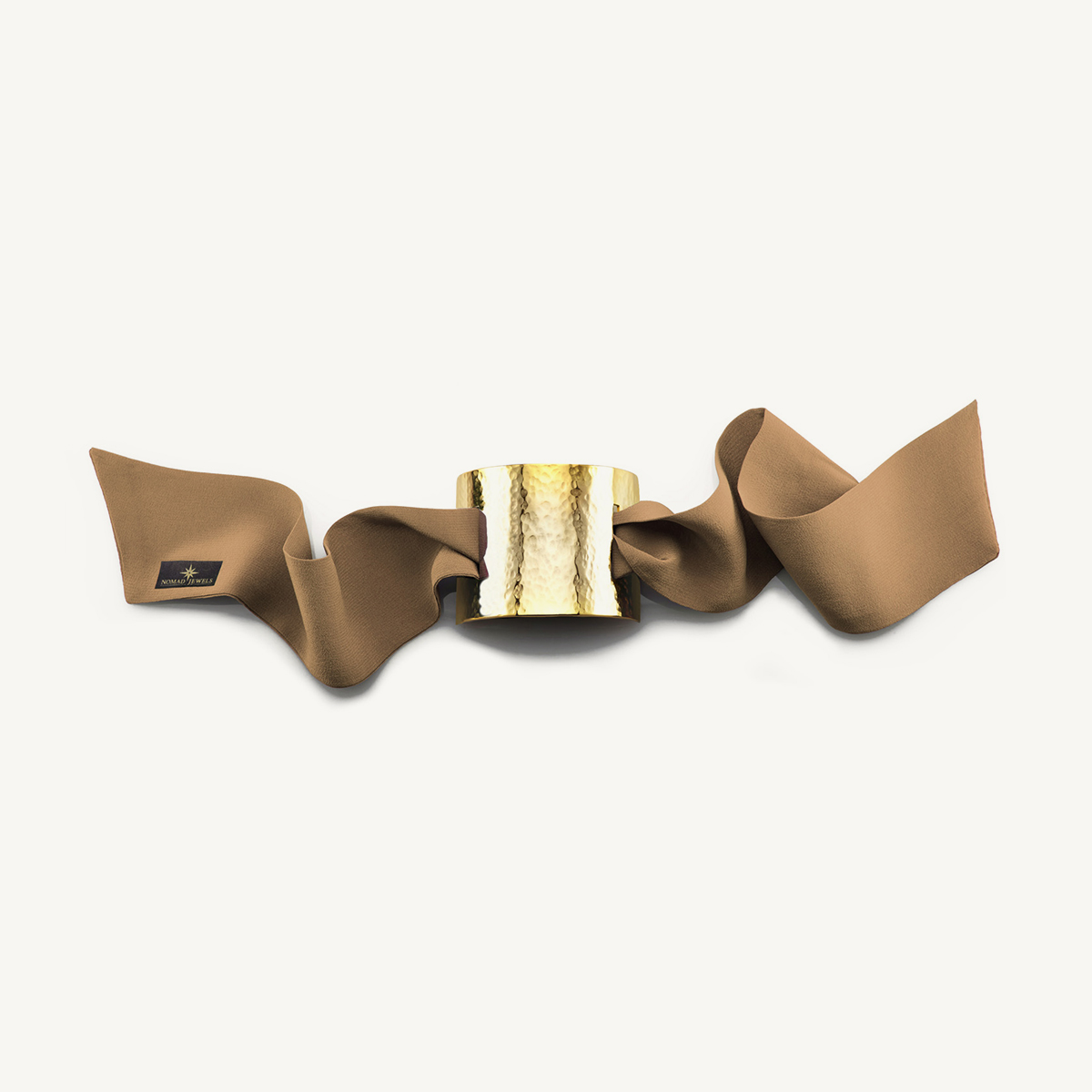 Nomad Cuff hammered yellow gold plated with beige silk scarf