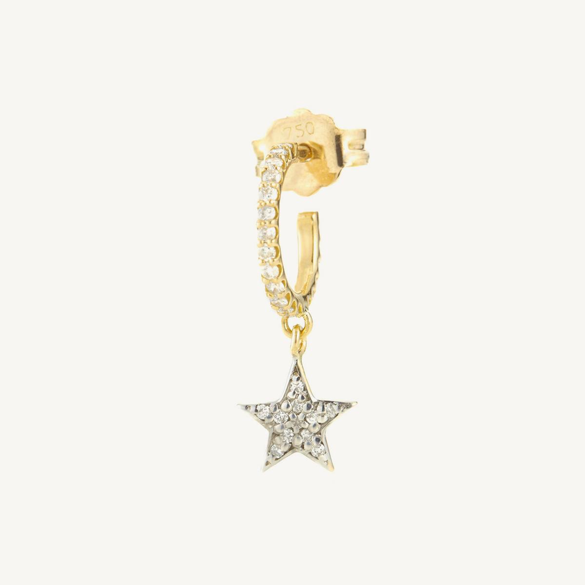 Earring Star Mini Hoop in yellow gold