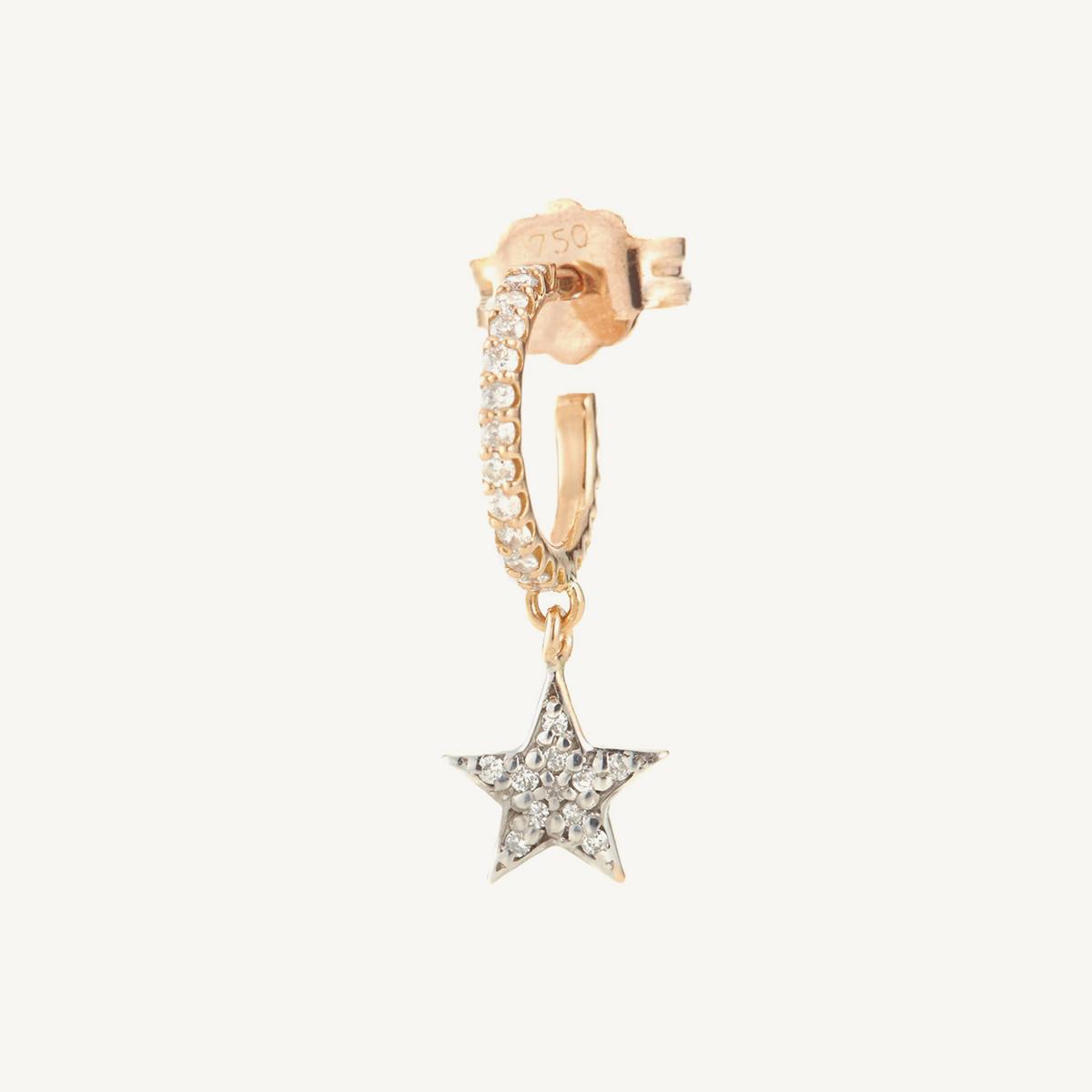 Earring Star Mini Hoop in rose gold