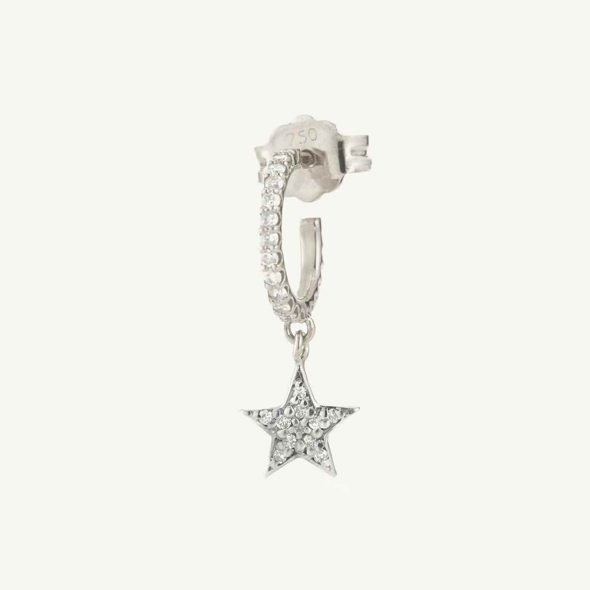 Earring Star Mini Hoop in white gold