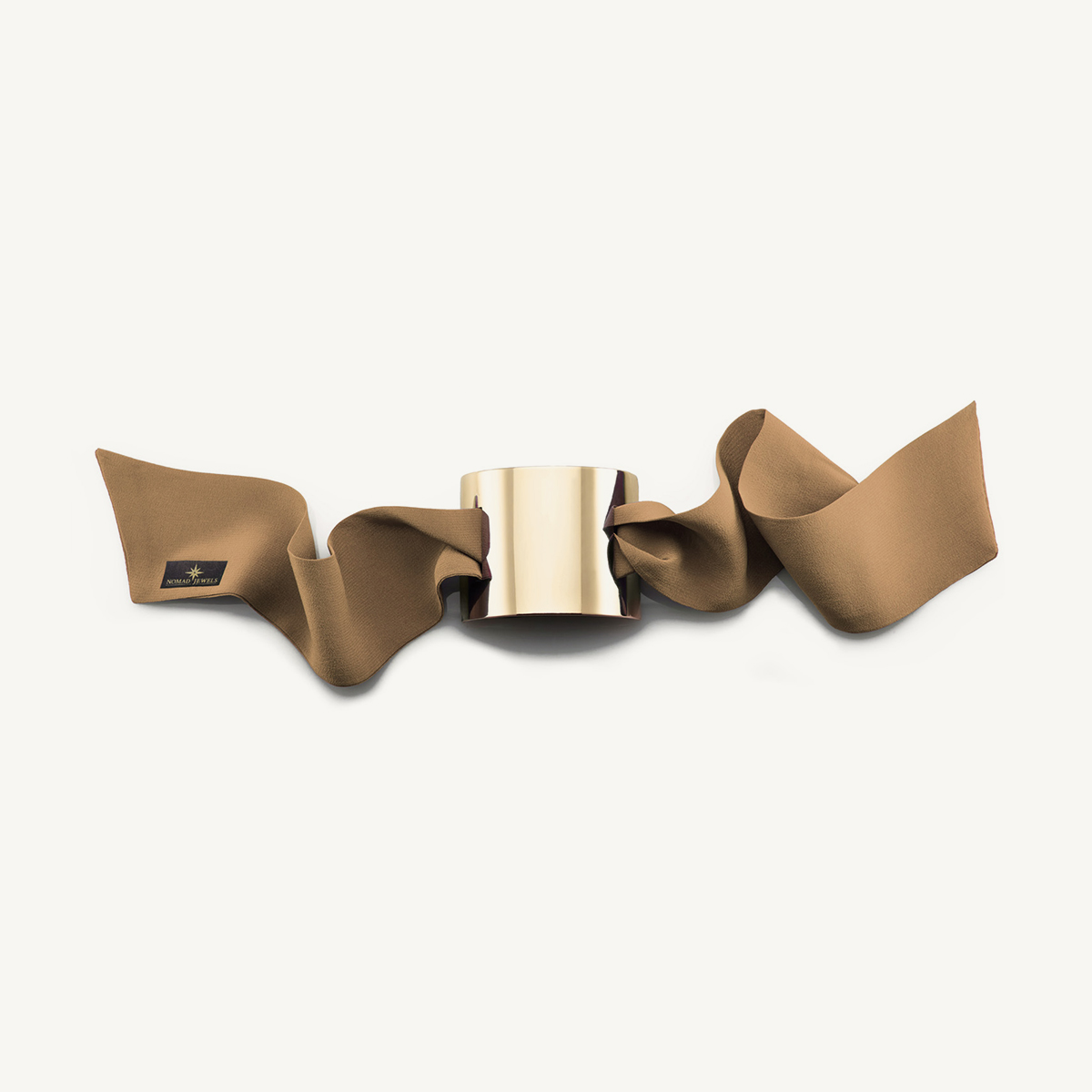Nomad Cuff yellow gold plated with beige silk scarf