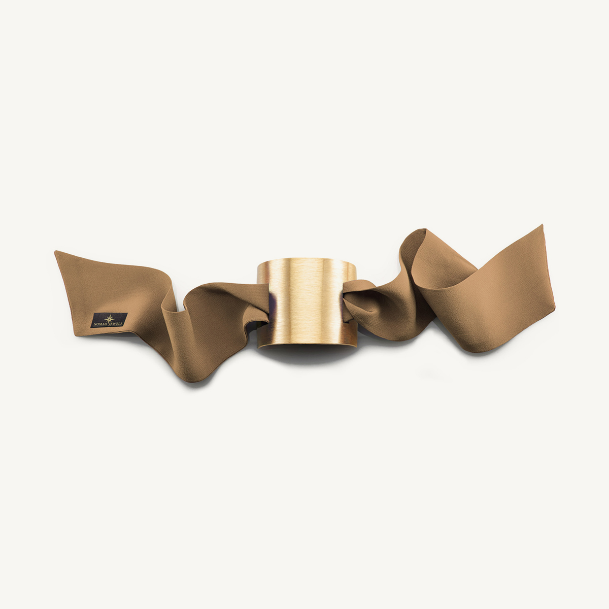 Nomad Cuff brushed yellow gold plated with beige silk scarf