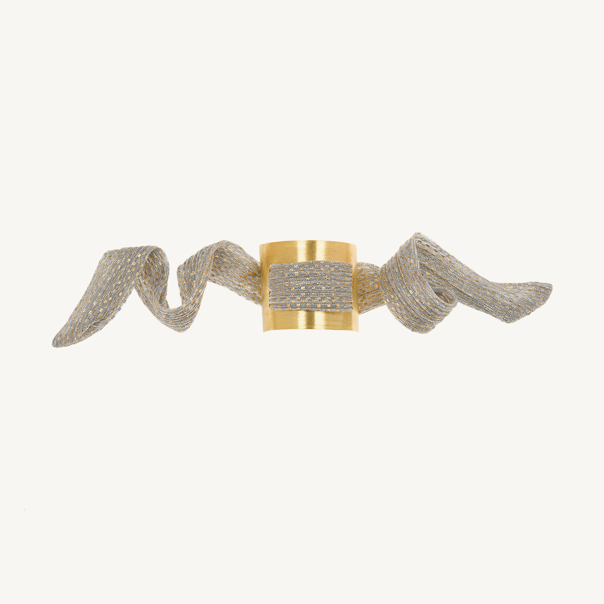 Nomad Cuff by Nupié yellow gold plated with grey and gold lurex scarf