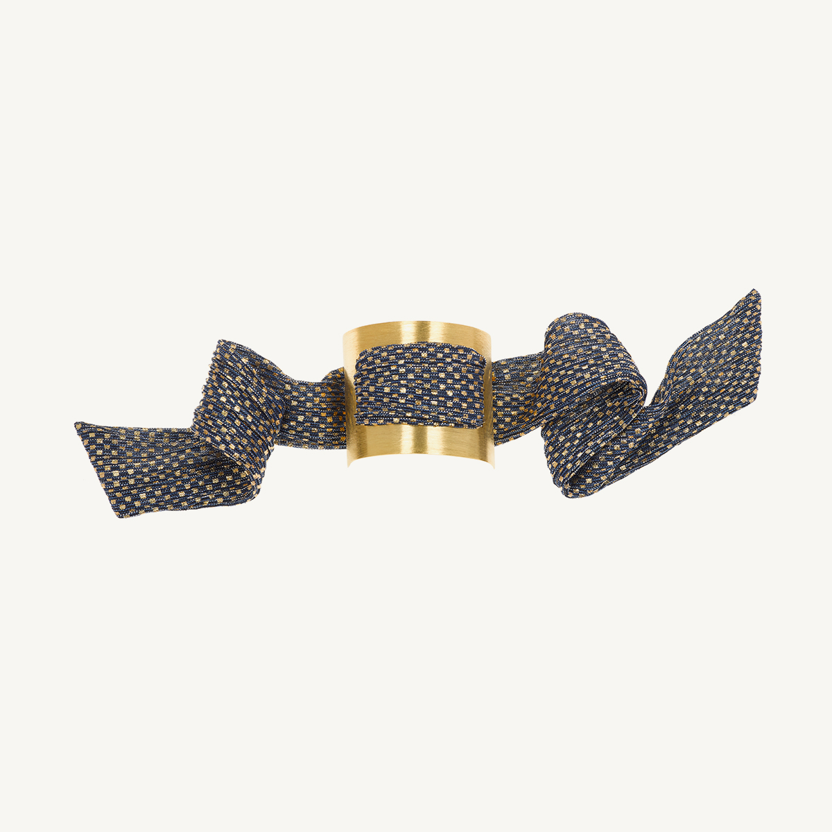 Nomad Cuff by Nupié yellow gold plated with navy blue and gold lurex scarf