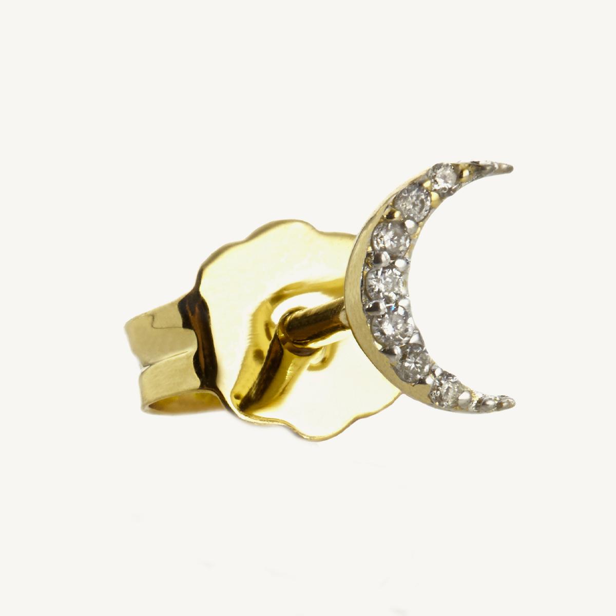 Earring Moon Stud in yellow gold