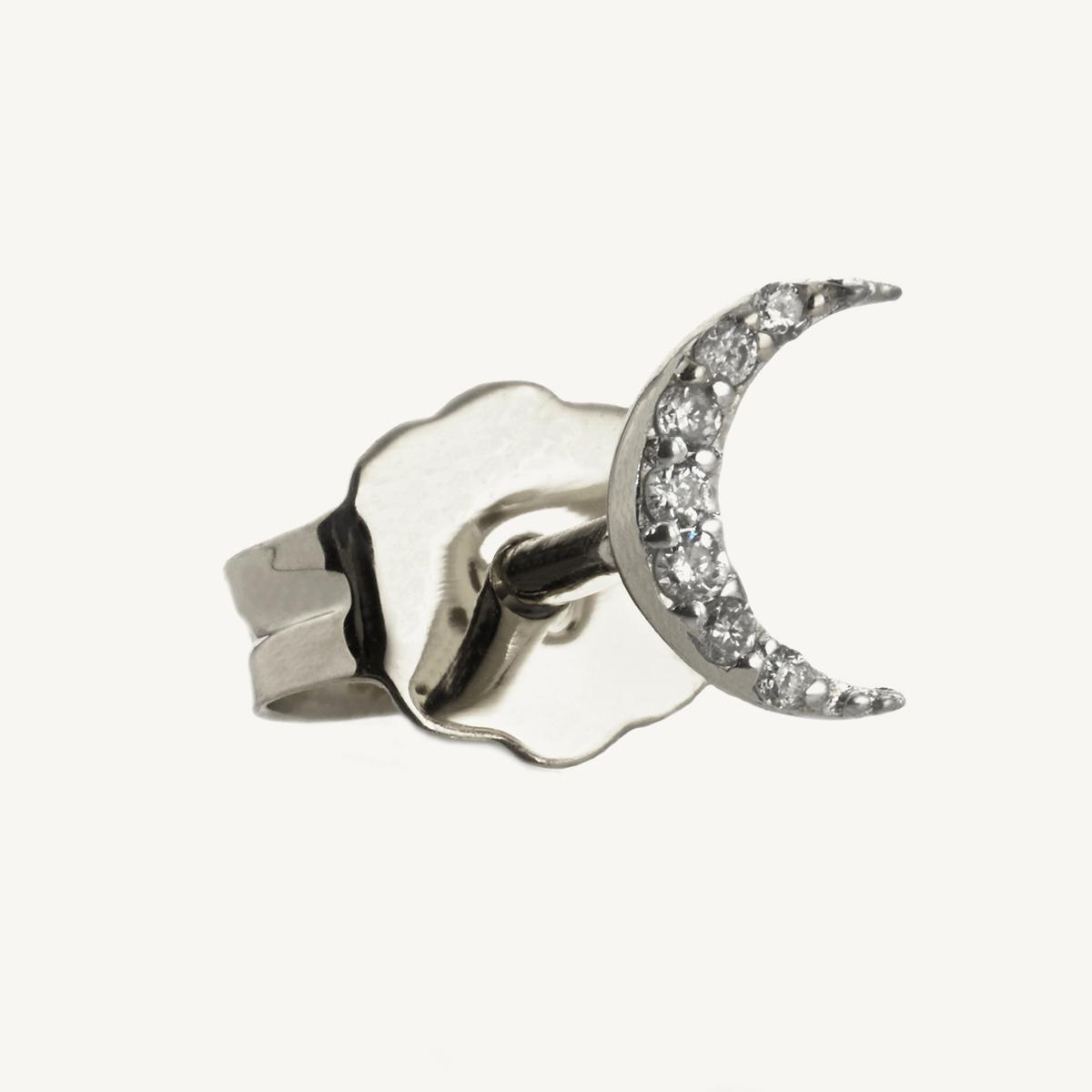 Earring Moon Stud in white gold