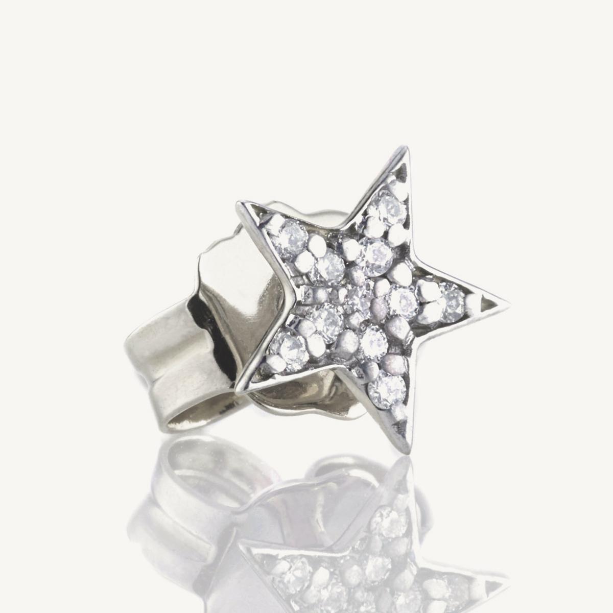 Earring Star Stud in white gold