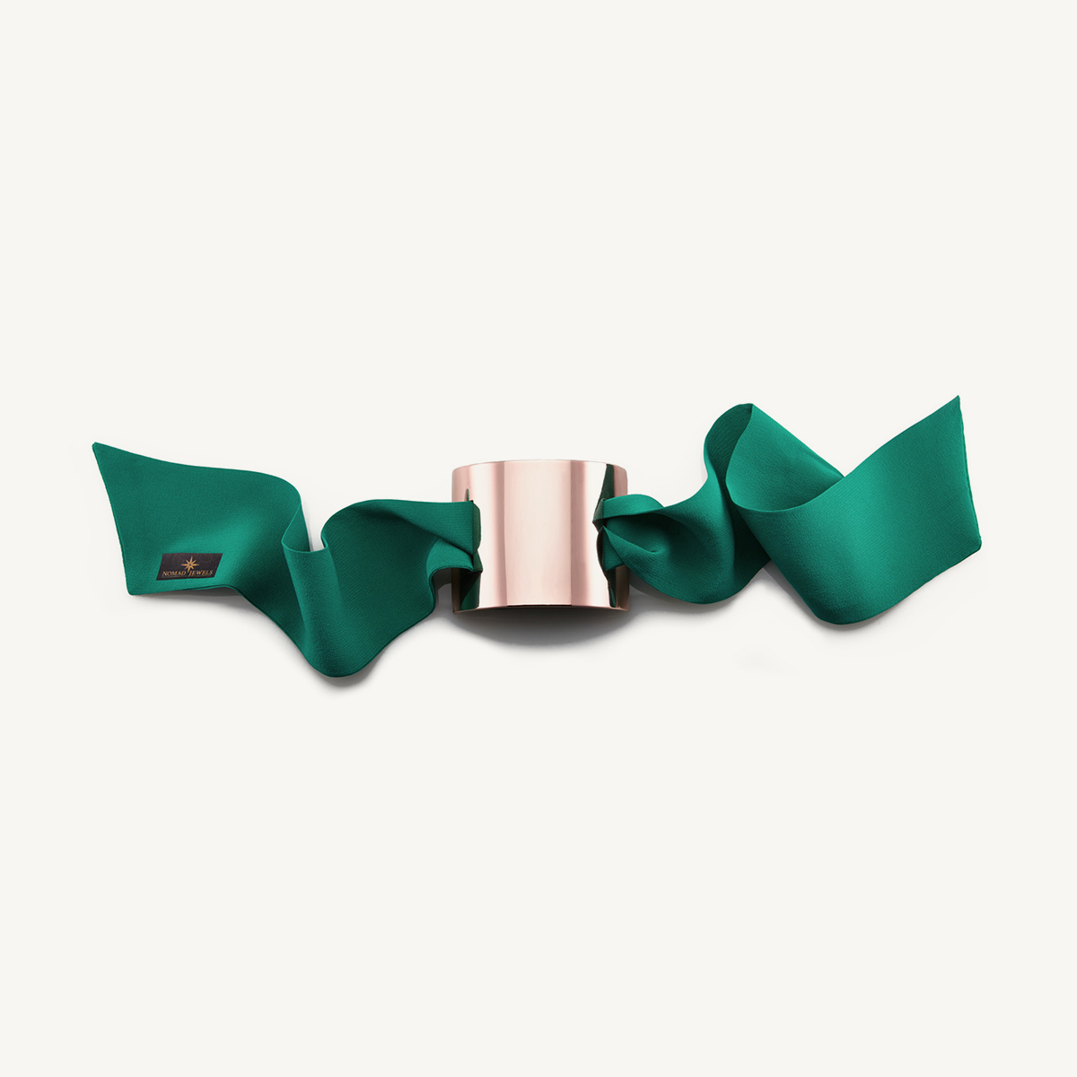 Nomad Cuff rose gold plated with green silk scarf
