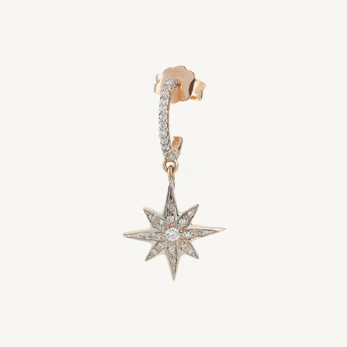 Earring Compass Star Mini Hoop