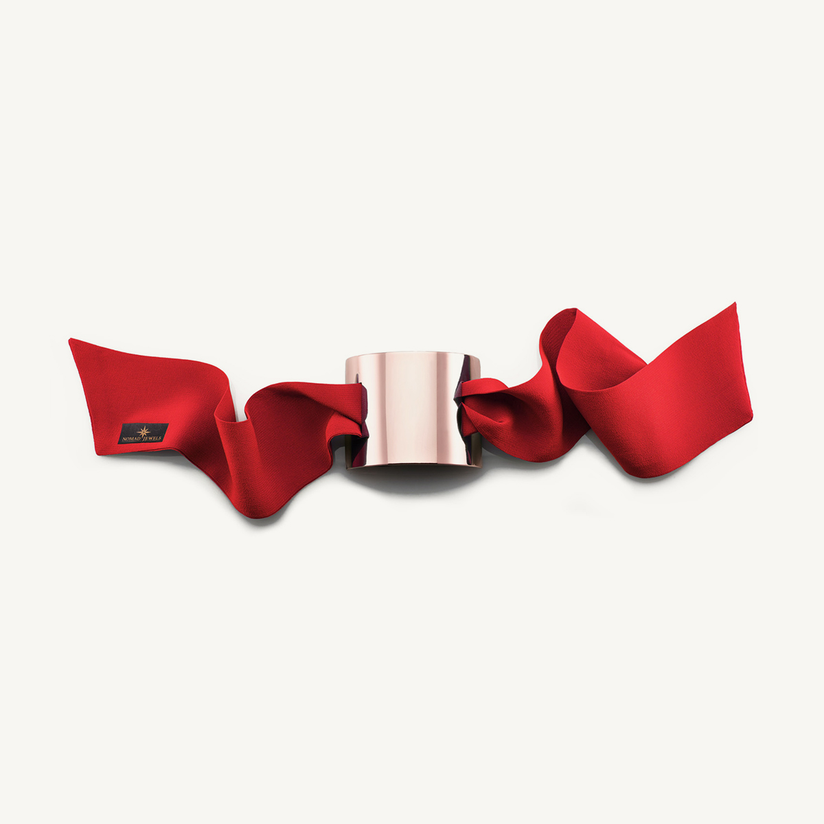 Nomad Cuff brushed rose gold plated with red silk scarf
