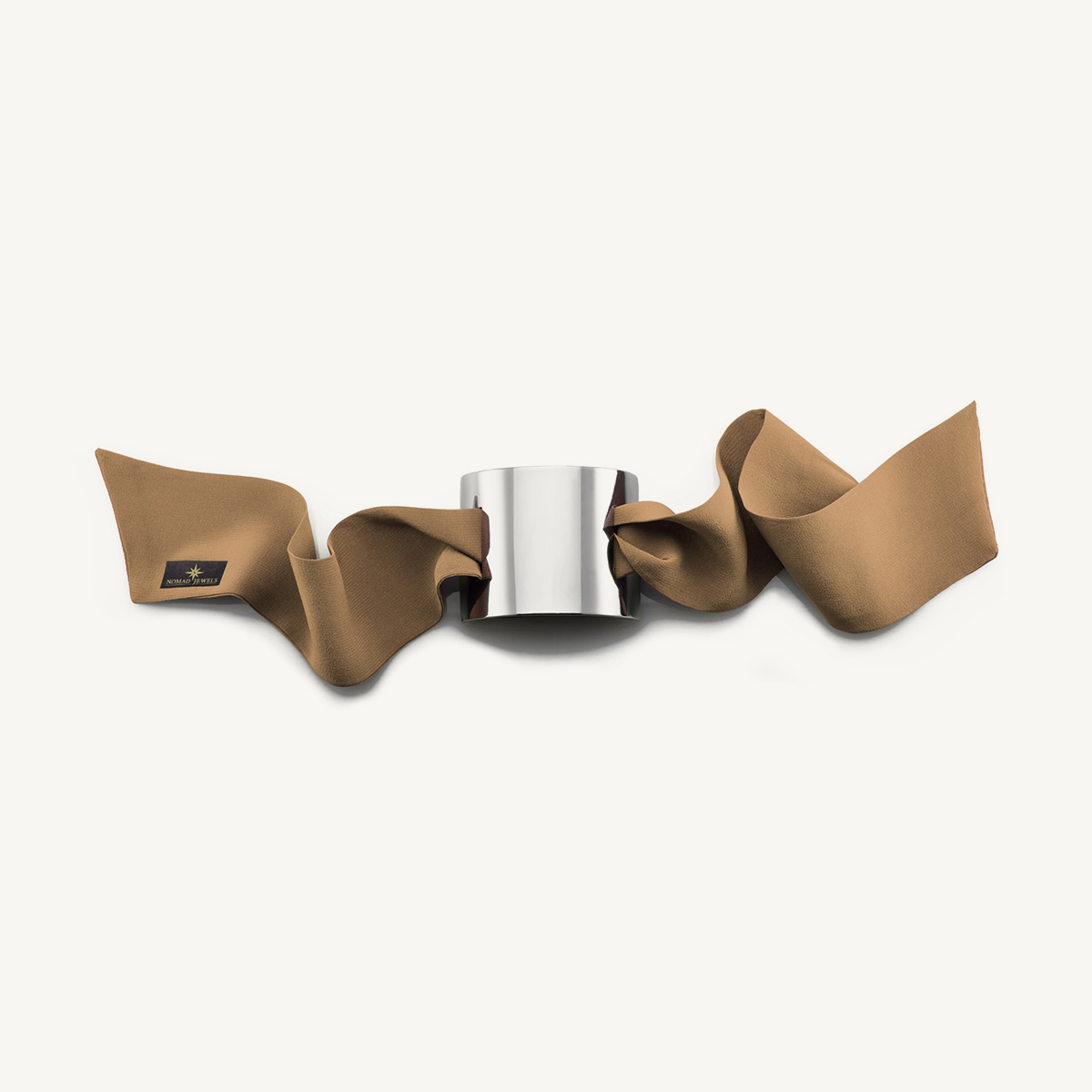 Nomad Cuff rhodium plated with beige silk scarf