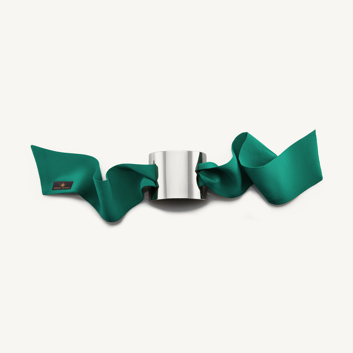 Nomad Cuff rhodium plated with green silk scarf