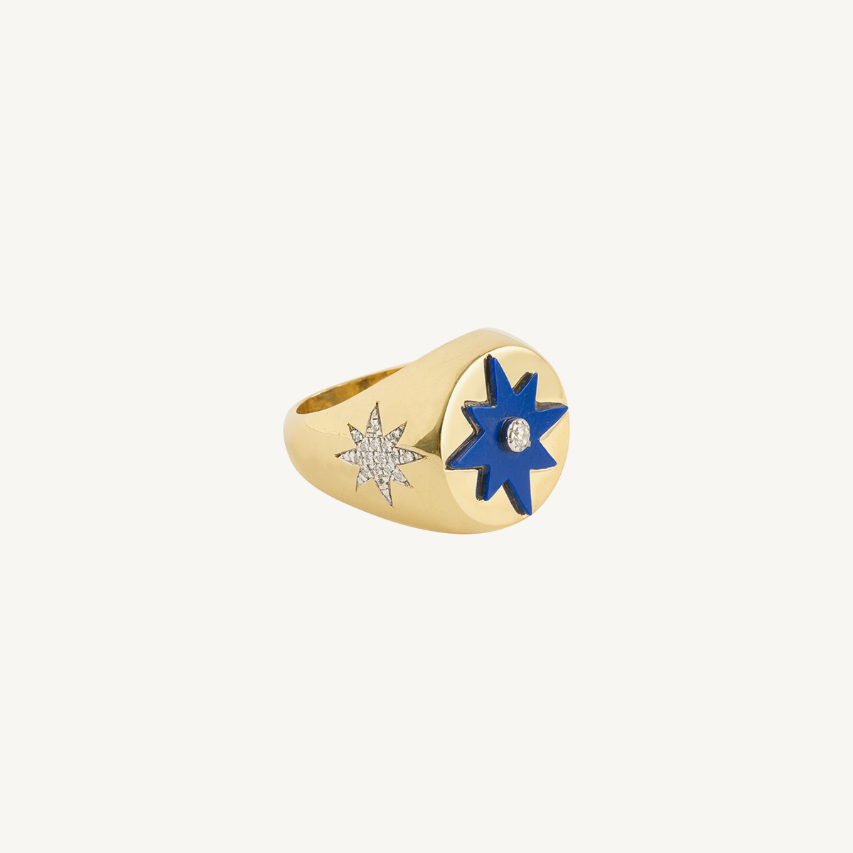 Ring Compass Star with Lapis-Lazuli