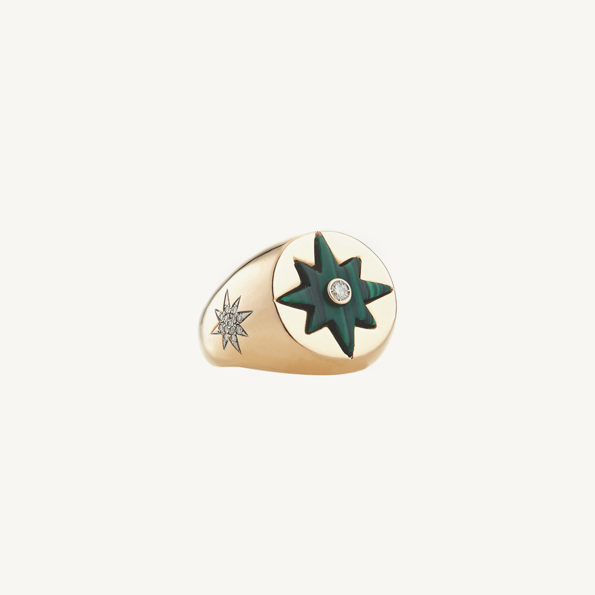 Ring Compass Star with Malachite