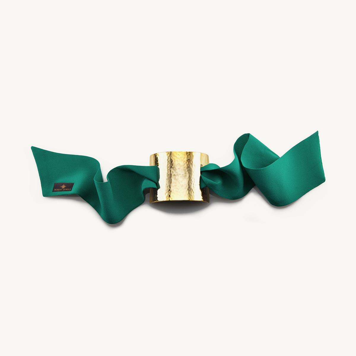 Nomad Cuff hammered yellow gold plated with green silk scarf
