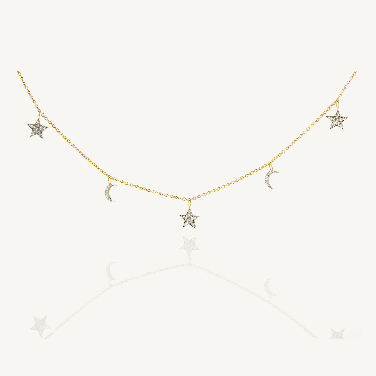 Necklace Stars & Moon in yellow gold